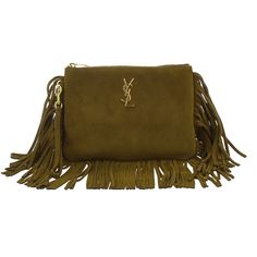Saint Laurent Monogram Clutch ($450) ❤ liked on Polyvore featuring bags, handbags, clutches, green, fringe clutches, monogrammed leather purse, green handbags, brown leather handbags and genuine leather handbags