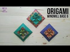 How to fold another origami windmill base model. Origami Wall Art, Origami Quilt, 3d Origami, Origami Flowers, Origami Boxes, Oragami, Origami Windmill, Hama Beads Minecraft, Perler Beads