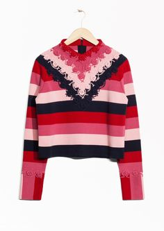 & Other Stories image 1 of Crochet Cotton Sweater in Pink