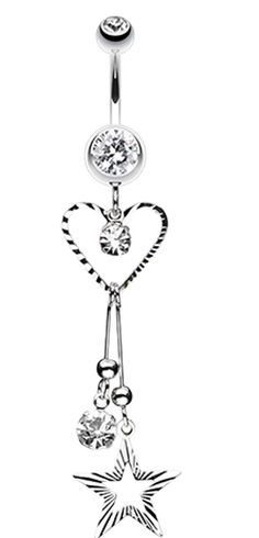 Heart & Star Sparkle Belly Button Ring - 14 GA (1.6mm) - Clear - Sold Individually