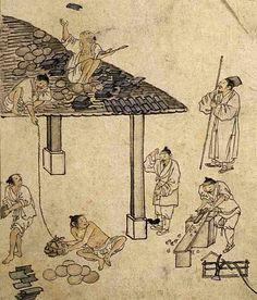 (Korwa) Carpenters from Album of Genre paintings by Kim Hong-do (1745-1806). aka Danwon. ca 18th century CE. Joseon Kingdom, Korea.