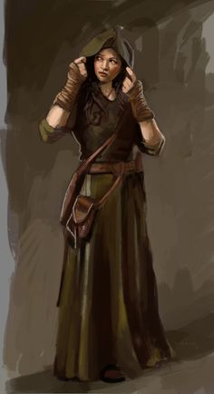 Female rogue / traveller / ranger with arm wraps and cloak, travelling pouch DnD / Pathfinder / character concept inspiration High Fantasy, Fantasy Women, Fantasy Rpg, Medieval Fantasy, Warhammer Fantasy, Fantasy Warrior, Dungeons And Dragons Characters, D D Characters, Fantasy Characters