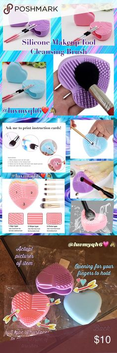 Silicone Makeup Brush Tool Choose your favorite color! From Pink, Blue, or Purple when checking out! The Unique Heart glove design is made of high quality silicone that gently cleans and sanitizes the bristles without damaging your brushes. Very useful tool for cleaning many size makeup brushes. See pictures! Its concave and convex design help you clean more thoroughly. Color's Available: (3) Pink, (3) Purple, (3) Blue. Size: 10cm in diameter. This listing is for one tool! Makeup Brushes…