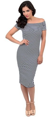 1960s Style Navy Blue & White Striped Nautical Shop Till You Drop Wiggle Dress
