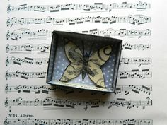 Butterfly Shadow Box, Matchbox Art, Choir Gift, Assemblage Art, Small Art, Singing Gift, Birds and Butterflies, Gift for Friend, Up cycled by JuliaPeculiar on Etsy
