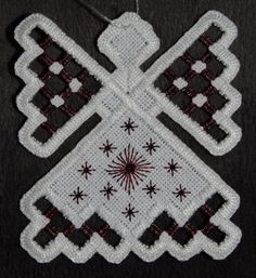 Hardanger Angel Ornament  Rosewood by twistedthreads on Etsy, $11.00