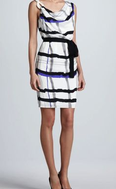 Escada White, Black & Violet Dress