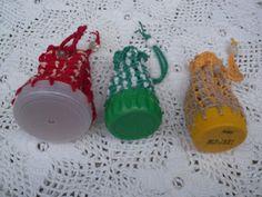 Porta moedas em crochê com tampas de garrafa pet - recicle