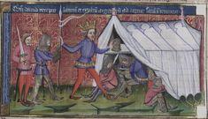 14th century / medieval tent ( manuscript : WLB Cod.bibl.fol.5 Weltchronic, Folio 137v, 1383, Germany )