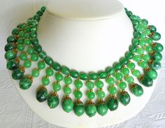 Vintage Egyptian Revival Marbled Jade Green Lucite Bead Bib Collar from northeast-acquisitions on Ruby Lane