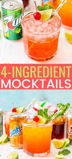 Mocktail recipe can be made three different ways by using your favorite sodas for a bubbly and fun drink for summer entertaining. Easy Mocktails, Easy Mocktail Recipes, Mocktail Drinks, Acholic Drinks, Non Alcoholic Cocktails, Punch Recipes, Alcohol Recipes, Refreshing Drinks, Yummy Drinks