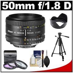 Nikon 50mm f/1.8D AF Nikkor Lens with 3 UV/FLD/CPL Filters + Hood + Tripod + Cleaning Kit for D7000, D90, D300s, D700, D35, D3 Digital SLR Cameras