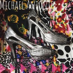 Michael Antonio Grey Snakeskin Heels LIKE NEW grey Michael Antonio snakeskin heels! No wear -whatsoever- except for the soles!   Would look so excellent with a LBD  No Trades!  ❗️ But feel free to make an offer!  ❗️ Michael Antonio Shoes Heels