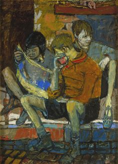 This brightly coloured oil composition shows three children seated on the pavement kerb, one rapt in the contents of a comic, another holding an apple and the third gazing out of the picture, his spindly legs ending in t-bar sandals.