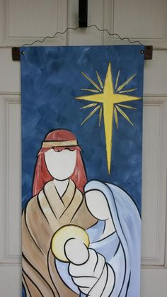 The Holy Family is the perfect Christmas greeting to those who enter your home or office! This simplistic watercolor style canvas door decor measures X 60 L. It is suitable for hanging on an interior or exterior door or wall. Hand painted with acrylic Christmas Nativity, Diy Christmas Ornaments, Christmas Art, Christmas Greetings, Family Christmas, Christmas Drawing, Christmas Paintings, Christmas Towels, Christmas Door Decorations