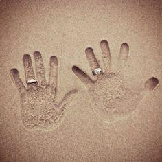 honeymoon wedding hands, picture in sand #honeymoon