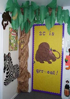 jungle classroom door decoration