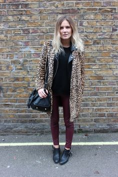 Love the leopard print jacket teamed up with these wine trousers x