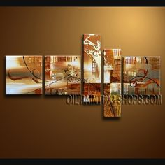 Beautiful Modern Abstract Painting Hand Painted Oil Painting Stretched Ready To Hang Abstract. This 5 panels canvas wall art is hand painted by A.Qiang, instock - $172. To see more, visit OilPaintingShops.com