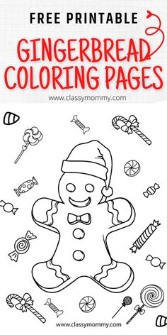 Free Gingerbread Coloring Pages! Free printable gingerbread coloring pages with gingerbread men, gingerbread girls, gingerbread houses and other cute Christmas themed coloring pages like Santa and more! #FreeColoringPages #FreePrintables #FreeChristmasPrintables #FreeChristmasColoringPages Holiday Crafts For Kids, Holiday Themes, Christmas Themes, Christmas Crafts, Free Christmas Coloring Pages, Free Coloring Pages, Free Christmas Printables, Free Printables, Gingerbread Man Coloring Page
