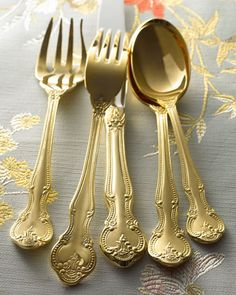 Just bought this 45-Piece Gold-Plated Baroque Flatware Service at Horchow. perfect for entertaining and marked down from $400 to $129. Score!