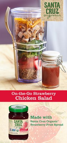 Ready for a fresh and flavorful way to change up your lunch routine? This one's easy: just layer your chicken salad ingredients in a tall, sealable container. Then, in a separate jar, mix Santa Cruz Organic® Strawberry Fruit Spread with mint and balsamic vinaigrette for a sweet and tart dressing that'll have you counting down the minutes until lunch.