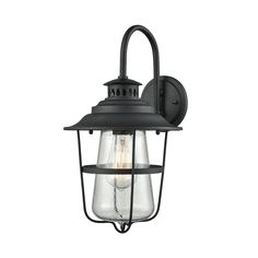 San Mateo 1 Light Outdoor Wall Sconce In Textured Matte Black With Clear Seedy Glass by Elk Lighting Group