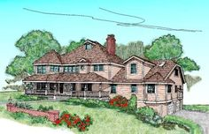 Country Style House Plans - 3417 Square Foot Home , 2 Story, 3 Bedroom and 4 Bath, 2 Garage Stalls by Monster House Plans - Plan 33-341
