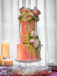 pink and green wedding cake flowers http://lorasweddingflowers.com/users/awp.php?ln=110659
