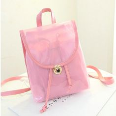 stacy bag hot sale women leather backpack youth girl candy color small vintage transparent travel backpack  plastic casual bag $7.00