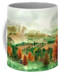 Transylvanian Autumn Coffee Mug featuring the painting Transylvanian Autumn by Olivia C