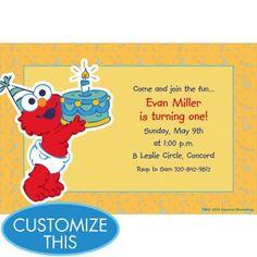 Custom Elmo First Birthday Invitations Party City Aris First