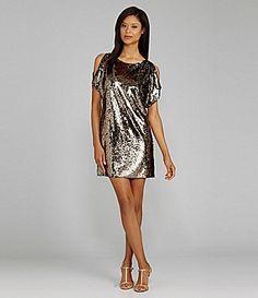 Holiday Dress?  Calvin Klein Cold-Shoulder Sequin Shift Dress | Dillards.com