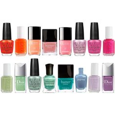 Spring 2012 Nail Colors. From left to right: OPI A Roll in the Hague, Essie Orange, It's Obvious!, Chanel June, Butter London Trout Pout, Chanel May, OPI Pedal Faster Suzi!, OPI Kiss Me on My Tulips, Essie Tour de Finance, Essie Navigate Her, Dior Waterlily, OPI Thanks a Windmillion, Deborah Lippmann Mermaid's Dream, Butter London Slapper, Zoya Skylar, Essie To Buy Or Not To Buy, and Dior Forget-Me-Not