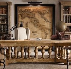 Traditional Office   Masculine Workspace   Antique Map   DIY Art   World Map Decor   Home Design