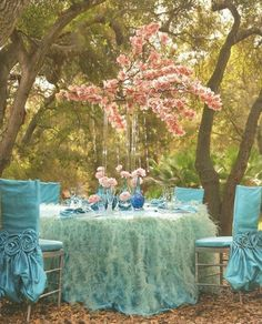Peach and Turqouise Wedding Decor - very whimsical look in this picture - love it
