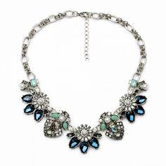 antique silver statement bib crystal dark blue flower necklace jewelry by matonodesign on Etsy https://www.etsy.com/listing/233326495/antique-silver-statement-bib-crystal