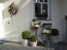 Outside Garden Porch. White, Grey, Chippy, Shabby Chic, Whitewashed, Cottage, French Country, Rustic, Swedish decor Idea. ***Pinned by oldattic***