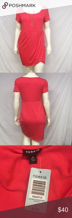 Torrid Tulip Dress Casual cool tulip wrap dress from Torrid! Comfy jersey material feels like a tee but is so much prettier. Scoop neck. Pink color. Super stretchy. New with tags, never worn. Size 1X and 2X available. torrid Dresses Mini