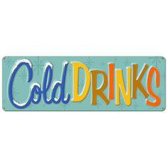 Cold Drinks Large Metal Sign   Vintage Diner Signs   RetroPlanet.com