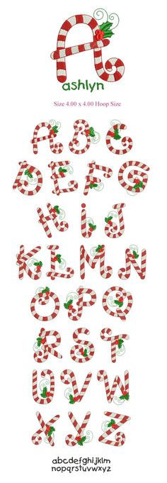 Christmas Candy cane and Holly alphabet, typography Christmas Alphabet, Christmas Fonts, Christmas Candy, Christmas Art, Christmas Typography, Xmas, Christmas Parties, Christmas Ideas, Creative Lettering