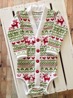Christmas/Holiday Baby Preppy Cardigan: Reindeer Ugly Sweater Party Print (Cardigan only)