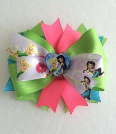 Tinkerbell Hair Bows Inspired / Princess Tinkerbell Hair Bows / Princess Hair Bows / Hot Pink & Lime Green Hair Bows / Disney Hair Bows  on Etsy, $6.49