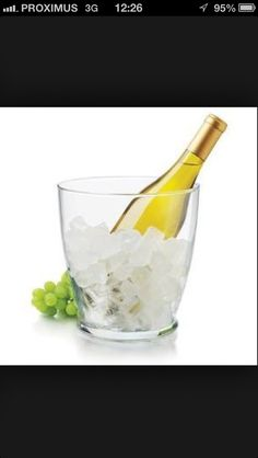 How You can cool your bottle of white wine much quicker in an Ice Bucket. Fill The Ice Bucket with Ice, cold water and a handfull of SALT! This lowers the temperature extra and cools Your bottle perfect in 5 minutes :)