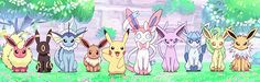 From left to right is Flareon,Umbreon,Vaporeon, Eevee,Pikachu,Sylveon,Espeon,Glaceon, Leafeon,and Jolteon