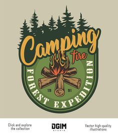 Vintage colorful summer expedition label with campfire and forest landscape isolated vector illustration , Badge Design, Logo Design, Graphic Design, Graphic Art, Design Art, Scouts, Bear Footprint, Outdoor Logos, Bear Silhouette