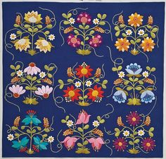 """Beautiful Flower Applique...someday!!! Pattern from the book """"Twilight Garden Quilts"""" by Deborah Kemball."""
