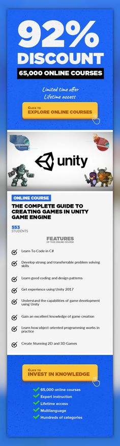 The Complete Guide To Creating Games In Unity Game Engine Game Development, Development #onlinecourses #learningstrategies #onlineeducationfree  Game Development Made Easy. Learn C# And How To Create 2D & 3D Games In Unity Enroll Now And Become AProfessionalGame Developer! This is the most comprehensiveonline course that will take you from beginner to creating stunning 2D &3Dgames in Uni...