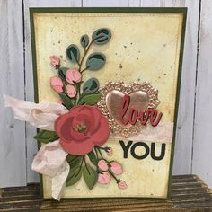 Tim Holtz Dies, Valentine Love Cards, Spellbinders Cards, Hand Stamped Cards, Beautiful Handmade Cards, Creative Cards, Flower Cards, Making Ideas, Cardmaking