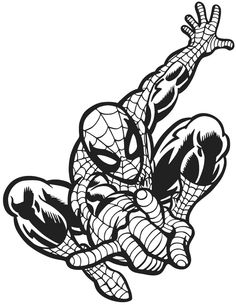 spiderman avengers sci-fi super hero DXF SVG file for Plasma, laser, waterjet vinyl Free Printable Coloring Pages, Coloring Book Pages, Spiderman Stencil, Superhero Coloring Pages, Spiderman Coloring, Silhouette Art, Superhero Silhouette, Stencil Art, Paint Stencils